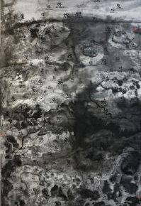 44 Qiu Zhijie, Virtue of Fire, ink on paper, 124 x 246 cm, 2016