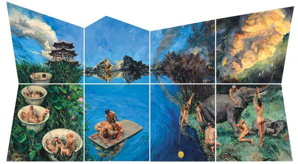 Yu Hong, Garden of Dreams, Acrylic on canvas, 500×920 cm