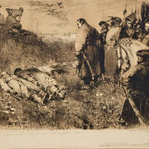 03 Nemirovich Danchenko, The People's Liberation War of Ukraine No.6 – In Front of the Kazakh Martyrs of Don River, 34.5 × 54 cm, 1956, monochrome etching, the work donated by National Academy of Fine Arts and Architecture, Kiev, via Wang Manshuo, in the collection of CAFA Art Museum