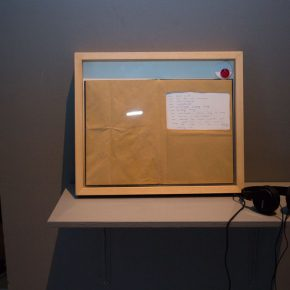 "06 Tong Yixin A Single Statement notebook in frame newsprint hum a zoo speech recording 3'23'' loop headphone shelf 2011 290x290 - CAFA Exhibition丨An All-Encompassing All Sounds: Experimental Re-Exploration of ""Post-Sound"" Art"