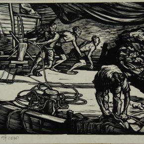 13-wang-qi-arrived-on-shore-monochrome-woodblock-print-27-x-16-8-cm-1948-collected-by-cafa-art-museum