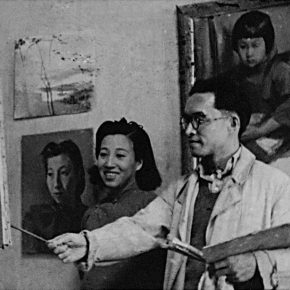 "25 In 1945 Qin Xuanfu and Li Jiazhen in the studio of Phoenix Mountain Chongqing 290x290 - Working Notes: What is a ""Merry-Go-Round"" – The Exhibition to Commemorate the 110th Anniversary of Qin Xuanfu"