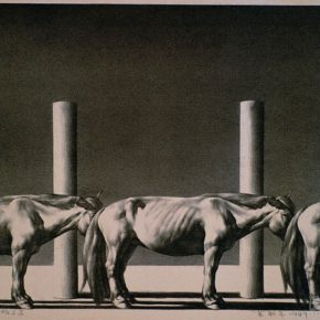 30-su-xinping-timber-pile-and-horse-47-x-62-cm-lithograph-1989