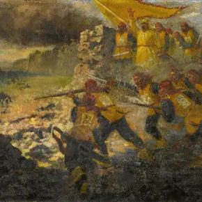 "39 Qin Xuanfu Tianjing Battle oil on canvas 200 × 600 cm 1958 Museum of History of Taiping Heavenly Kingdom in Nanjing 290x290 - Working Notes: What is a ""Merry-Go-Round"" – The Exhibition to Commemorate the 110th Anniversary of Qin Xuanfu"