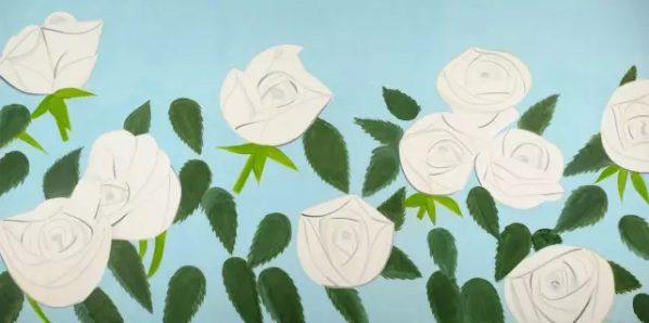 Alex Katz, White Roses 9, 2012; Oil on linen, 274.3x548.6cm