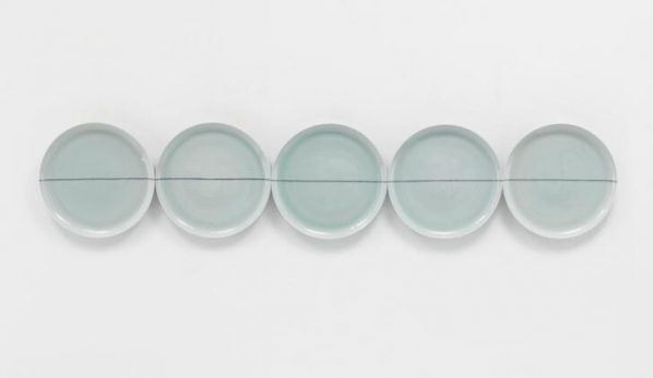 Liu Jianhua, Untitled 2012, 2012; porcelain installation, 40.5x40.5cmx4.2cm each