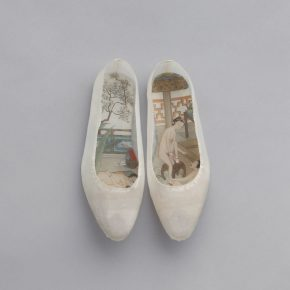PENG Wei Good Things Come in Pairs – no. 4 2011 13 silk shoes with painted insoles 23.5 x 17 x 4 cm. 290x290 - INK REMIX: Contemporary art from mainland China, Taiwan and Hong Kong is exhibiting at Museum of Brisbane