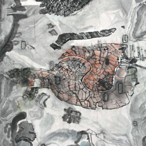 QIU Zhijie The Fanatics from Birdseye series 2013 Ink and colour on paper 180 x 97cm. 290x290 - INK REMIX: Contemporary art from mainland China, Taiwan and Hong Kong is exhibiting at Museum of Brisbane