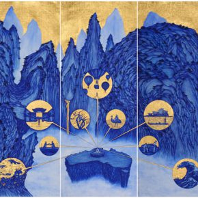 YAO Jui chung Yao's Journey to Australia. 2015 biro blue ink with gold leaf on India handmade paper 195 x 539 cm. 290x290 - INK REMIX: Contemporary art from mainland China, Taiwan and Hong Kong is exhibiting at Museum of Brisbane