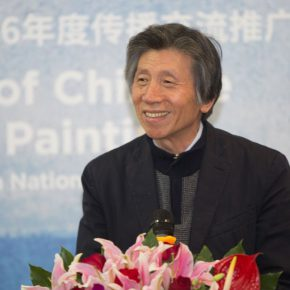"""01 President of CAFA Fan Di'an delivered a speech 290x290 - """"Silk Road · Rock Color – Illustration of Chinese Rock-Color Painting"""" Opened at the Yan Huang Art Museum"""