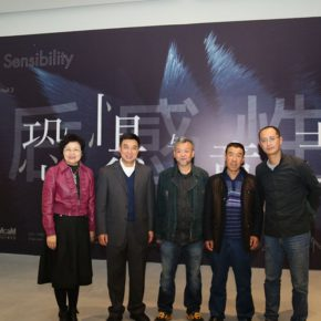 View of the opening ceremony (from left to right): Director of Beijing Minsheng Art Museum Zhou Xujun, Chairman of Beijing Minsheng Art Museum Li Wenhua, exhibition curator, participating artist Qin Ga, a collaborator of Qin Ga Art Project Li Baoyuan, Dean of the School of Experiment Art, CAFA Qiu Zhijie
