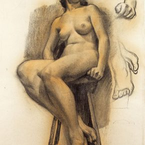 04-qin-xuanfu-a-french-female-model-paper-drawing-63-x-47-cm-1933