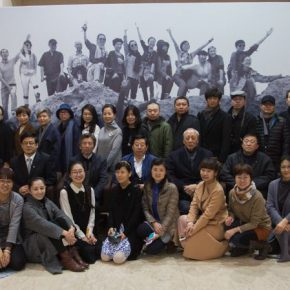 """07 Group photo of honor guests and artists 290x290 - """"Silk Road · Rock Color – Illustration of Chinese Rock-Color Painting"""" Opened at the Yan Huang Art Museum"""