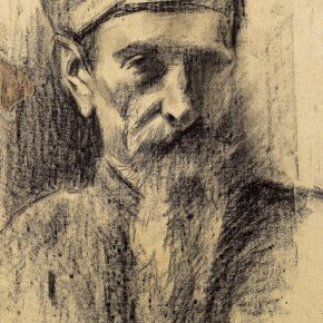 10-qin-xuanfu-the-old-man-with-a-scarf-paper-drawing-39-5-x-27-5-cm-1941