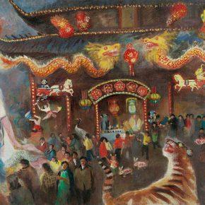 100 Qin Xuanfu Jinling Lantern Festival oil on canvas 117 × 170 cm 1989 290x290 - Qin Xuanfu