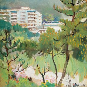 101-qin-xuanfu-landscape-of-guangxi-hotel-oil-on-paper-75-x-55-5-cm-1984