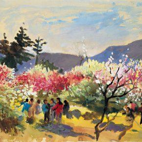 102 Qin Xuanfu Spring Tour of Plum Blossom Mountain gouache on paper 48.5 × 64 cm 1984 290x290 - Qin Xuanfu