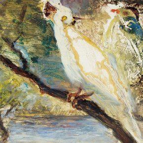 103-qin-xuanfu-a-pair-of-white-parrots-gouache-on-paper-26-x-35-cm-1988