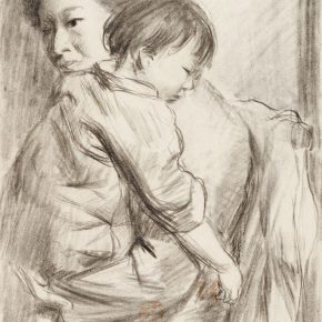 14-qin-xuanfu-mother-and-daughter-paper-drawing-26-x-19-cm-1940