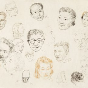 16-qin-xuanfu-the-artists-drawing-each-others-portrait-paper-drawing-80-x-110-cm-1946