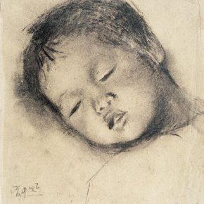 17 Qin Xuanfu A Sleeping Child paper sketch 31.5 × 27.5 cm 1942 290x290 - Qin Xuanfu
