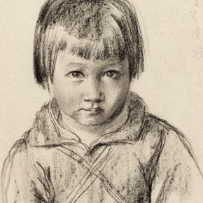 19-qin-xuanfu-portrait-of-jingsheng-when-she-was-three-years-old-paper-drawing-39-x-28-cm-1941
