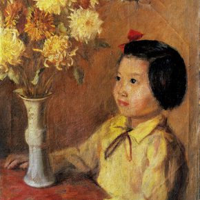 32-qin-xuanfu-a-young-girl-and-chrysanthemum-oil-on-canvas-54-x-45-cm-1944