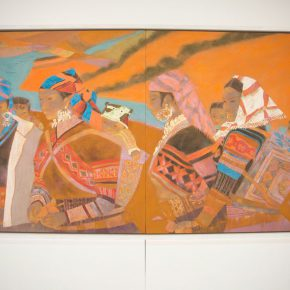 """33 The exhibited work 290x290 - """"Silk Road · Rock Color – Illustration of Chinese Rock-Color Painting"""" Opened at the Yan Huang Art Museum"""