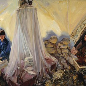 33-yu-hong-bed-net-acrylic-on-canvas-3-panels-190-x-110-cm-x-3-2013