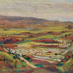 35-qin-xuanfu-terraced-fields-of-chongqing-oil-on-canvas-55-5-x-99-cm-1941