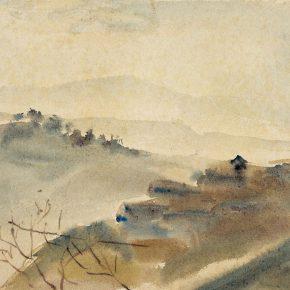 38-qin-xuanfu-fog-in-chongqing-watercolor-on-paper-24-5-x-33-cm-1943