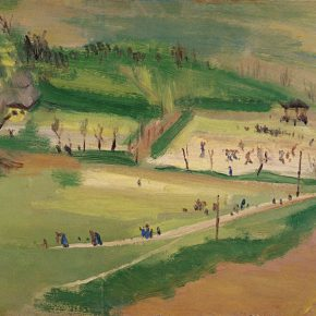 42 Qin Xuanfu The Campus in Wartime oil on wooden board 31.5 × 47 cm 1944 in the collection of National Art Museum of China 290x290 - Qin Xuanfu