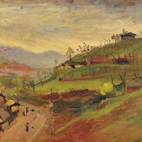 44-qin-xuanfu-landscape-of-ciqikou-oil-on-wooden-board-31-x-47-cm-1944