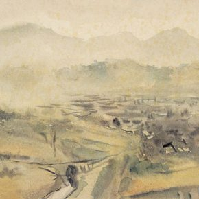 45-qin-xuanfu-landscape-of-phoenix-mountain-watercolor-on-paper-24-5-x-33-cm-1943