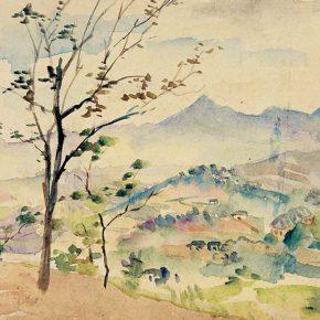 46-qin-xuanfu-overlooking-phoenix-mountain-watercolor-on-paper-24-x-32-cm-1940