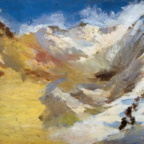 47 Qin Xuanfu Snow Capped Mountains oil on wooded board 27 × 35 cm 1945 290x290 - Qin Xuanfu