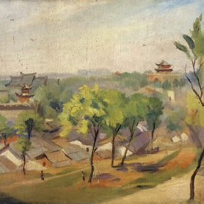 50-qin-xuanfu-overlooking-the-drum-towers-oil-on-canvas-54-x-79-cm-1948-in-the-collection-of-national-art-museum-of-china
