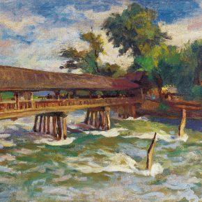 52 Qin Xuanfu Cable Bridge of Guanxian County oil on canvas 50 × 60 cm 1946 290x290 - Qin Xuanfu