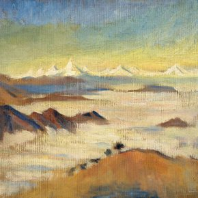 54 Qin Xuanfu Overlooking the Snow Capped Mountains from Emei Golden Summit oil on canvas 38 × 47 cm 1946 290x290 - Qin Xuanfu