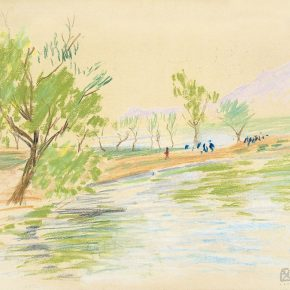 60-qin-xuanfu-landscape-of-qingdao-no-2-pastel-on-paper-29-5-x-38-cm-1948