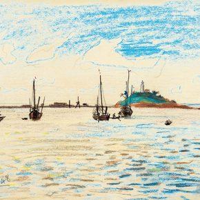62 Qin Xuanfu Beach of Qingdao pastel on paper 29.5 × 38 cm 1948 290x290 - Qin Xuanfu