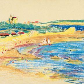 63-qin-xuanfu-beach-of-qingdao-pastel-on-paper-28-x-37-cm-1948