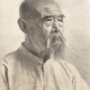 66-qin-xuanfu-the-elderly-with-white-beards-paper-drawing-49-x-37-cm-1955