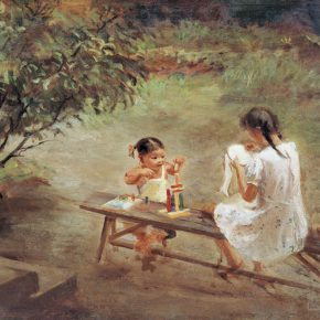 72-qin-xuanfu-the-little-sisters-oil-on-canvas-65-x-81-cm-1958