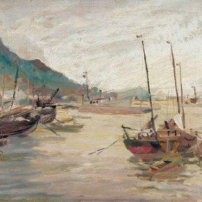 78 Qin Xuanfu Lianyun Port oil on wooded board 34 × 46 cm 1956 290x290 - Qin Xuanfu