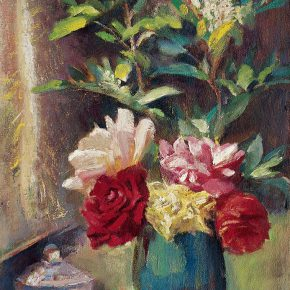 80 Qin Xuanfu Chinese Roses oil on wood board 45 × 33 cm 1958 290x290 - Qin Xuanfu