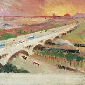 82-qin-xuanfu-the-bridge-and-red-sun-oil-on-board-34-x-45-cm-1981