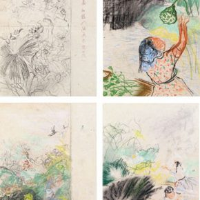 84-qin-xuanfu-harvesting-lotus-figure-colored-drawing-paper-drawing-39-x-27-cm-x-4-1953