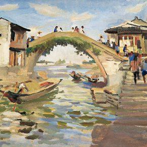90-qin-xuanfu-shaoxing-skew-bridge-oil-on-paper-54-x-76-cm-1963