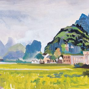 99-qin-xuanfu-xingping-cinema-watercolor-on-paper-39-5-cm-x-55-cm-1984